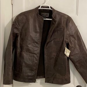 NWT Claiborne Leather jacket Bomber XL fleece